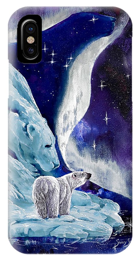 Polar Bear IPhone X Case featuring the painting Night Bear by Sherry Shipley