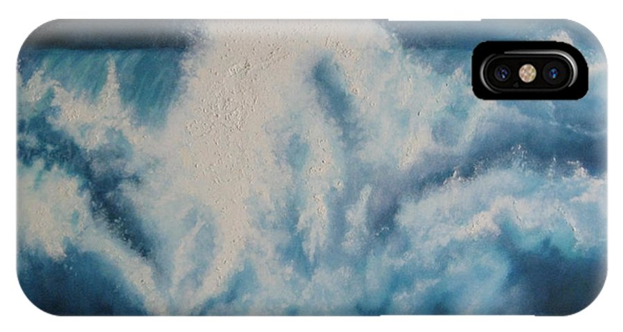 Seascape IPhone X Case featuring the painting Night Breaker by Parrish Hirasaki