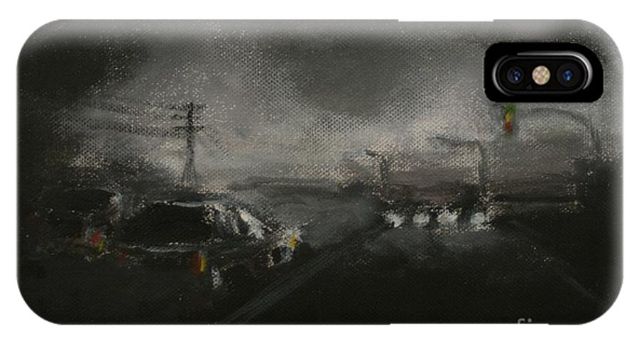 Driving IPhone X Case featuring the painting Night Driving - Stanhope Parkway by Sandra D Wilson