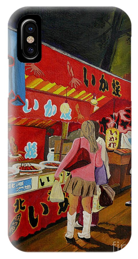 Japan IPhone X Case featuring the painting Night Festival by Anthony Dunphy