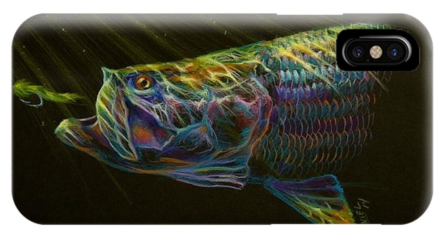 Tarpon IPhone X Case featuring the pastel Night Fly by Yusniel Santos