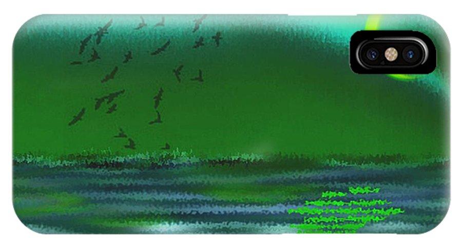 Night Sea Birds Moon IPhone X Case featuring the digital art Night .late Dinner by Dr Loifer Vladimir