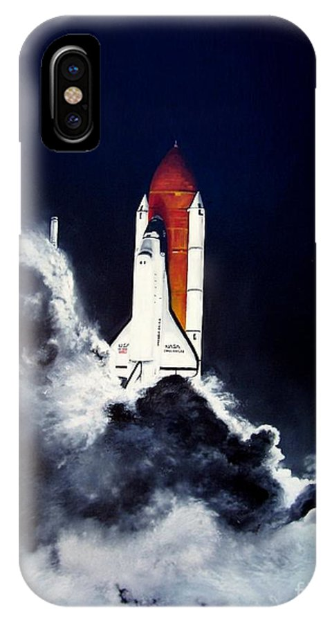 Oil IPhone Case featuring the painting Night Launch by Murphy Elliott