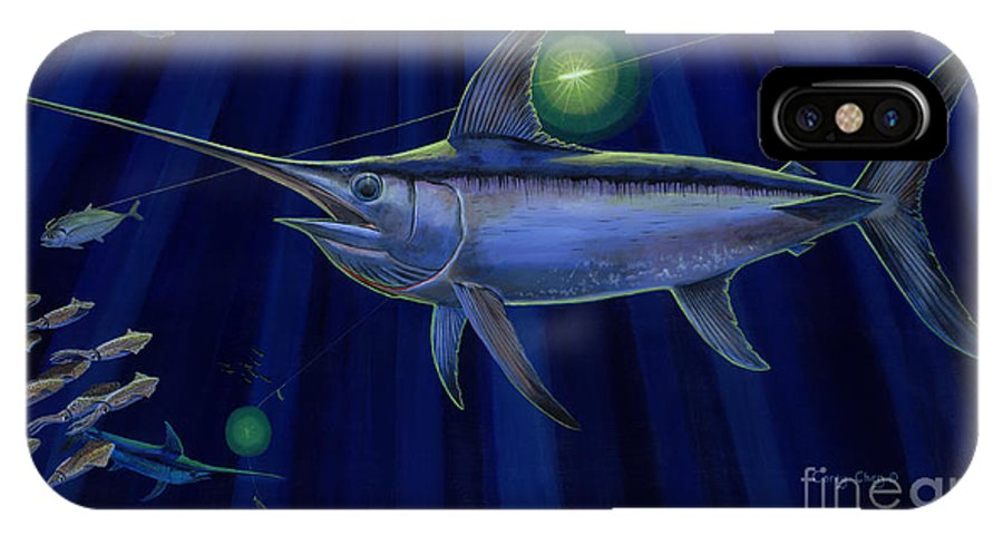 Swordfish IPhone X / XS Case featuring the painting Night Life Off0026 by Carey Chen