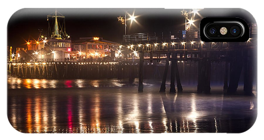 Night Santa Monica Beach Pier Prints IPhone X Case featuring the photograph Night On Santa Monica Beach Pier With Bright Colorful Lights Reflecting On The Ocean And Sand Fine A by Jerry Cowart