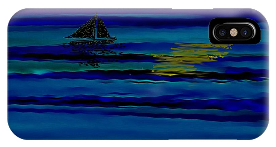 Night Sky Sea Water Sail Reflection Stars IPhone X Case featuring the digital art Night Reflections by Dr Loifer Vladimir