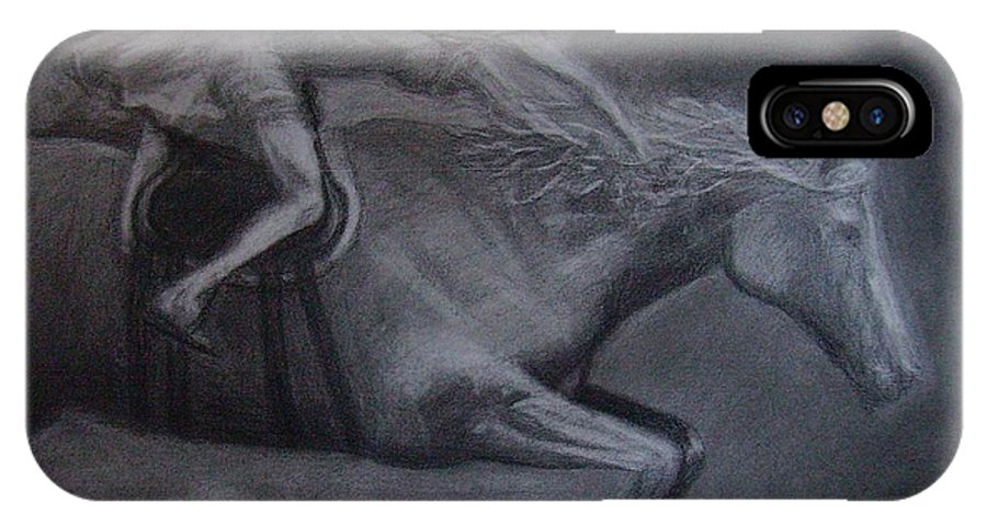 Horse IPhone Case featuring the drawing Night Rider by Kelly Statham