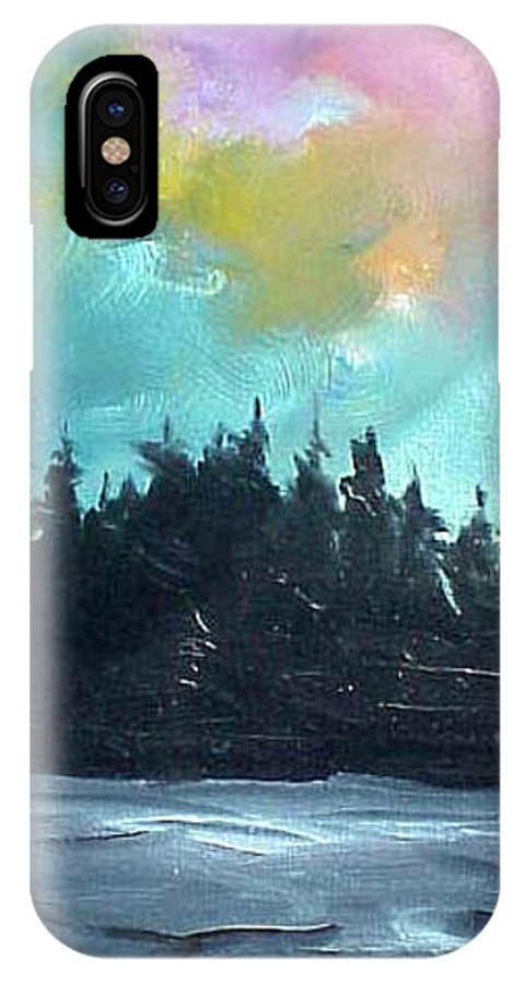 Landscape IPhone X Case featuring the painting Night River by Sergey Bezhinets