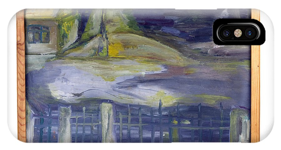 Painting IPhone X / XS Case featuring the painting Night Villa Behind The Iron Fence by Simonas Pazemeckas