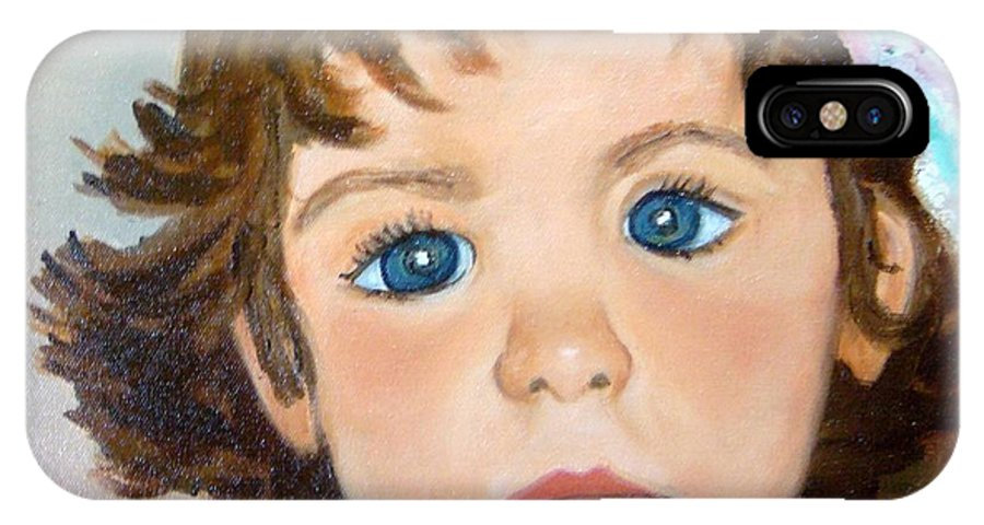 Portrait IPhone X Case featuring the painting Nikki by Laurie Morgan
