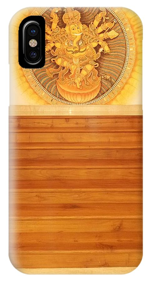 Traditional Muralpainting Devotion IPhone X Case featuring the painting Nirtha Ganesh by Naveen pb Naveen