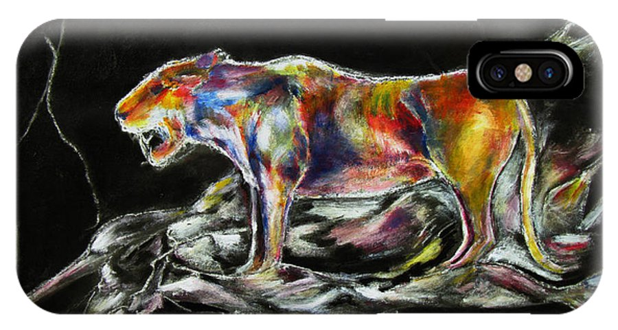 Animals IPhone Case featuring the painting No Fear by Tom Conway