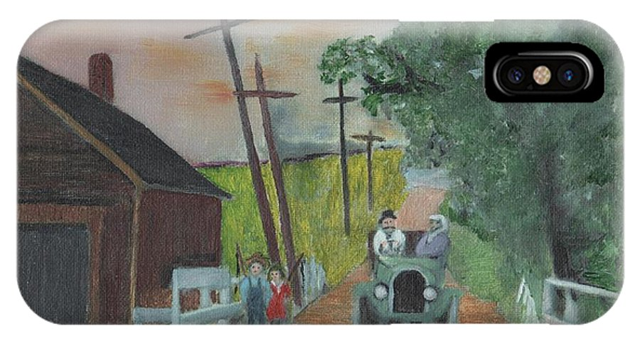 Vintage Cars IPhone X Case featuring the painting No Fishing by Cliff Wilson