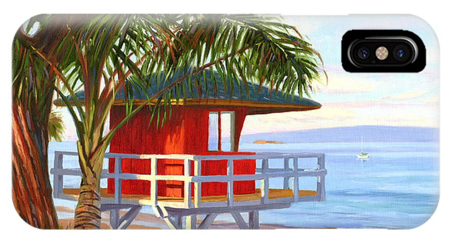 Maui IPhone X Case featuring the painting No Guard On Duty - Kamaole Beach by Steve Simon