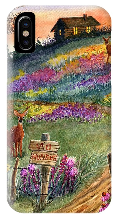 Landscape IPhone X Case featuring the painting No Hunting by Marilyn Smith