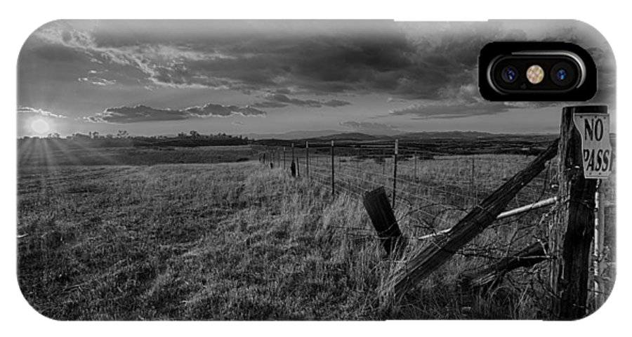 Black & White IPhone X Case featuring the photograph No Pass Black And White by Peter Tellone