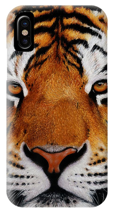 Tiger IPhone X Case featuring the painting Nobility  Amur  Siberian Tiger by John Palmer