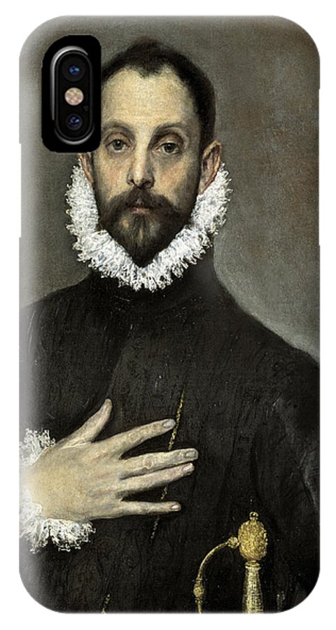 Portrait IPhone X / XS Case featuring the painting Nobleman With His Hand On His Chest by El Greco