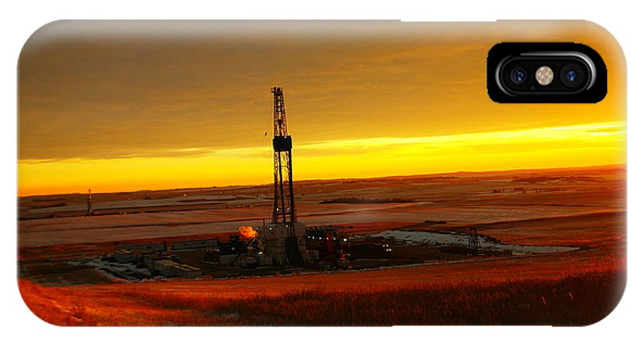 Oil IPhone X Case featuring the photograph Nomac Drilling Keene North Dakota by Jeff Swan