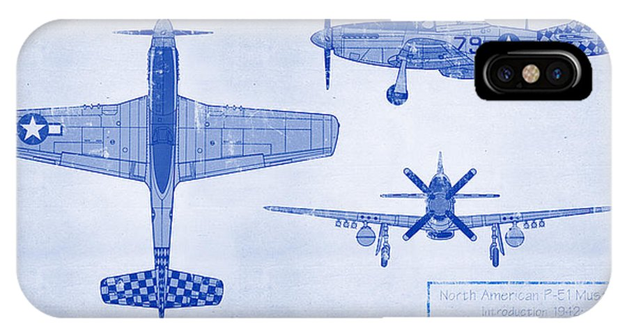 P-51 IPhone X Case featuring the digital art North American P-51d Mustang by Ryan Vosburg