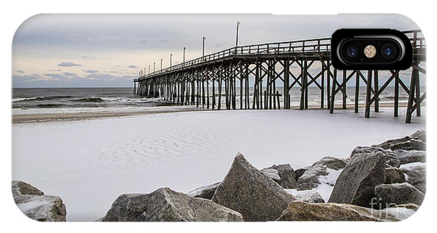 Snow IPhone X Case featuring the photograph North End Pier by Marie Kirschner