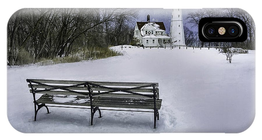 Lighthouse; Light House; Architecture; Beacon; Winter; Snow; Overcast; Cloudy; Cold; White; Tower; Keeper; House; Milwaukee; Lake Michigan; Structure; Building; Midwest; Shore; Nautical; Light Station; Coast; Frozen; Ice; Fine Art Photography; Scott Norris Photography; Bench; Sit; Rest; Park Bench; Wooden Bench IPhone X Case featuring the photograph North Point Lighthouse And Bench by Scott Norris