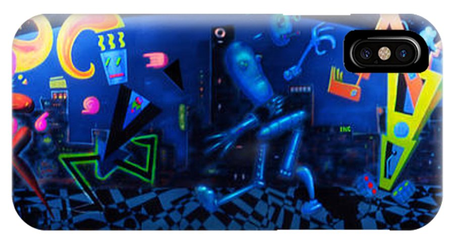 Abstract Cartoon IPhone X Case featuring the painting North Prin Wall by Mark Didine