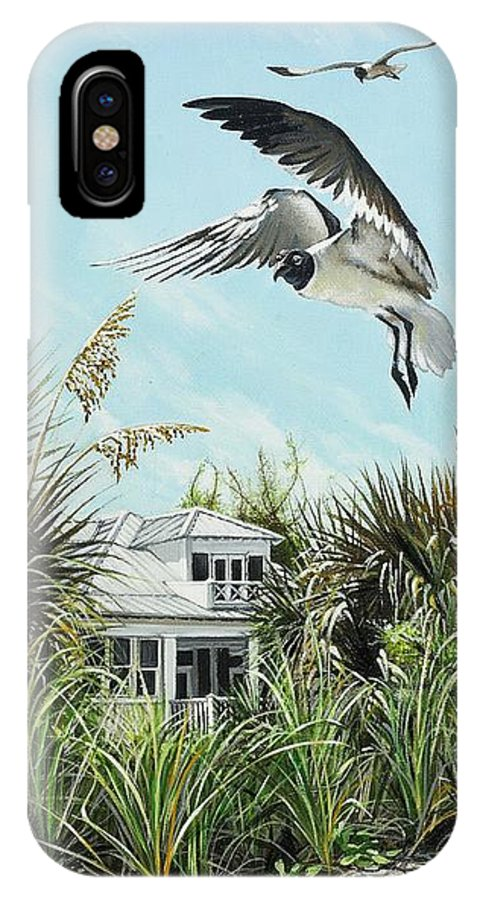 Bird IPhone X Case featuring the painting North Shore Landing by Joan Garcia