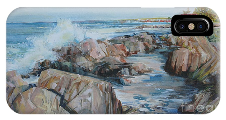 Rocky Coast IPhone X Case featuring the painting North Shore Surf by P Anthony Visco