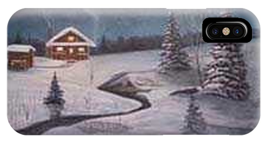 Rick Huotari IPhone X / XS Case featuring the painting North Woods Cabin by Rick Huotari