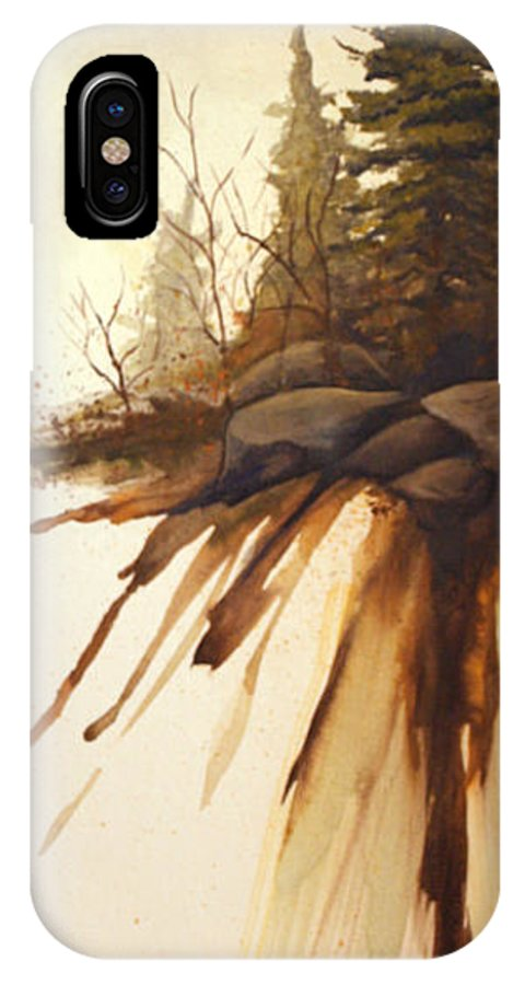 Rick Huotari IPhone X Case featuring the painting North Woods Pines by Rick Huotari