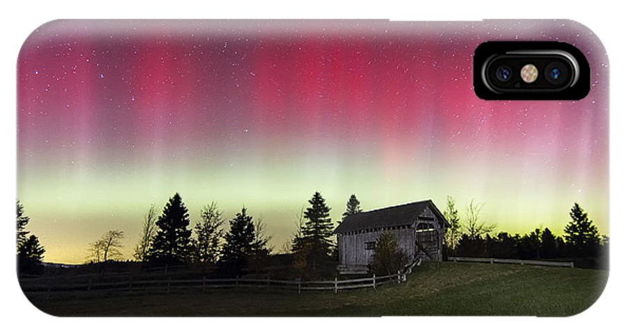 Aurora Borealis IPhone X Case featuring the photograph Northern Lights Over Foster Covered Bridge Cabot Vt by John Vose