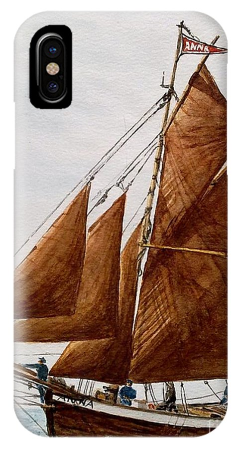 Sea IPhone X Case featuring the painting Norwegian Fishing Vessel by Julie Jules Grant-Field