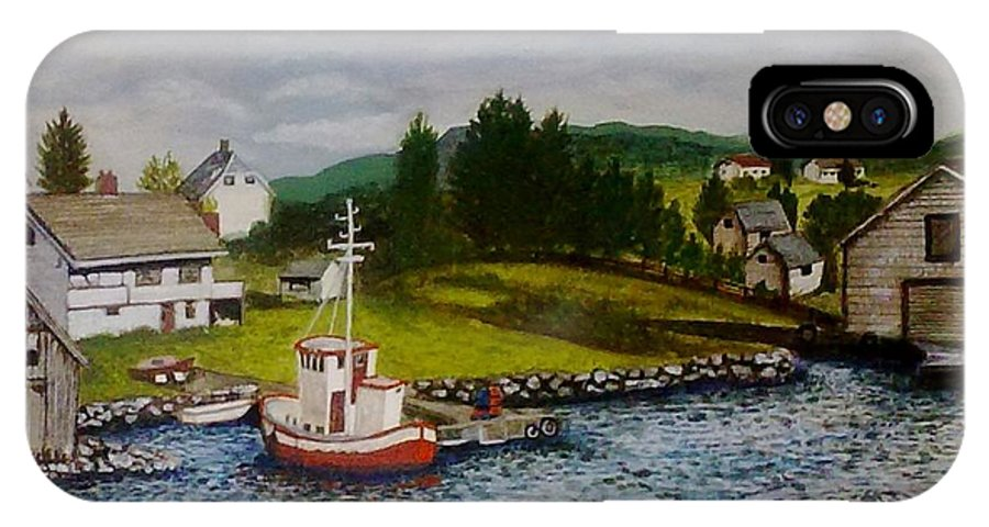 Acrylic IPhone X Case featuring the painting Norwegian Fishing Village by Julie Jules Grant-Field