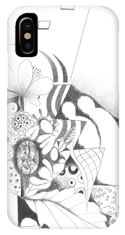 Abstract IPhone X Case featuring the drawing Nothing But Design by Helena Tiainen