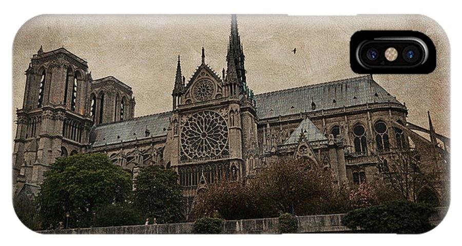 France IPhone X Case featuring the photograph Notre Dame Cathedral - Paris by Maria Angelica Maira