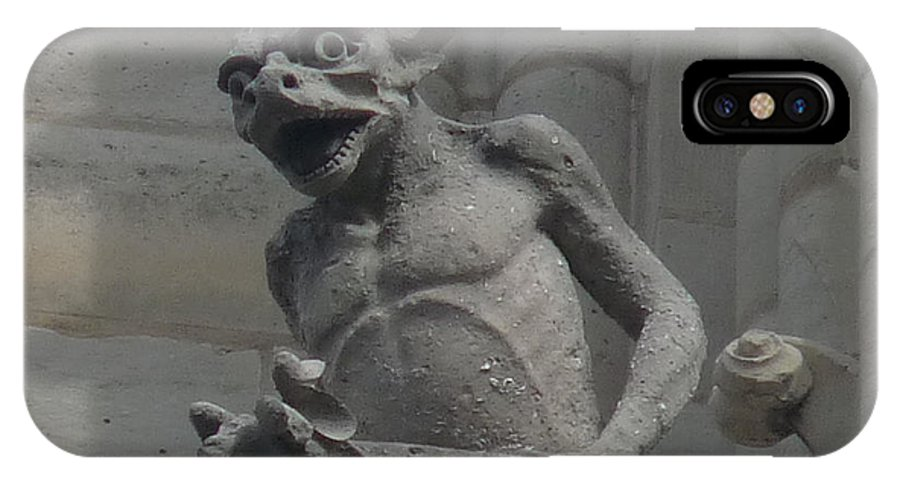 Paris IPhone X Case featuring the photograph Notre Dame Gargoyle by Deborah Smolinske