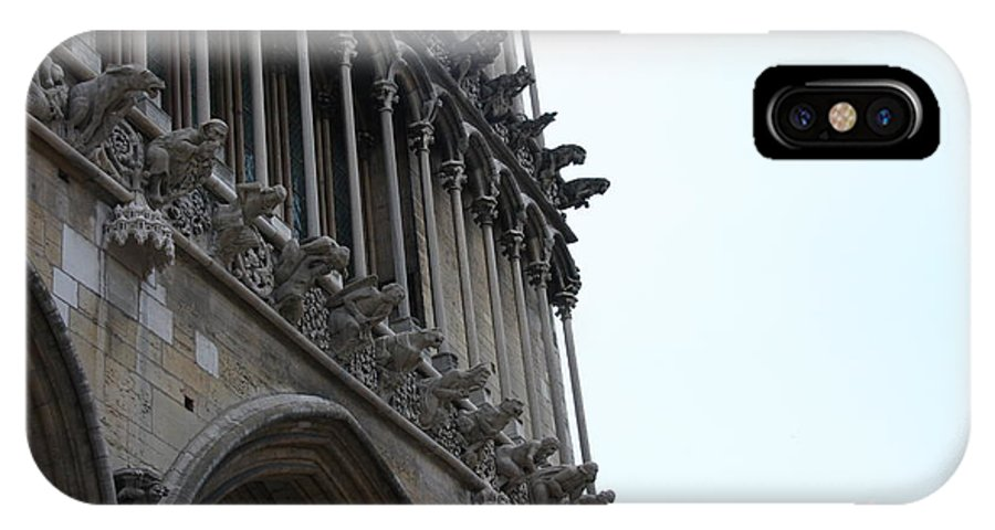 Facade IPhone X Case featuring the photograph Notre Dame Gargoyle Row - Dijon by Christiane Schulze Art And Photography
