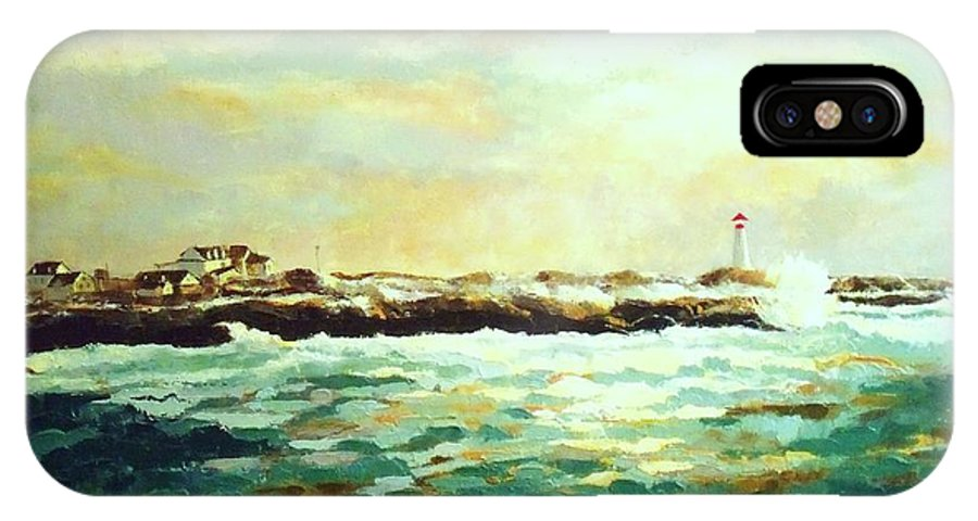 Ocean Paintings IPhone X Case featuring the painting Nova Scotia by Madeleine Holzberg