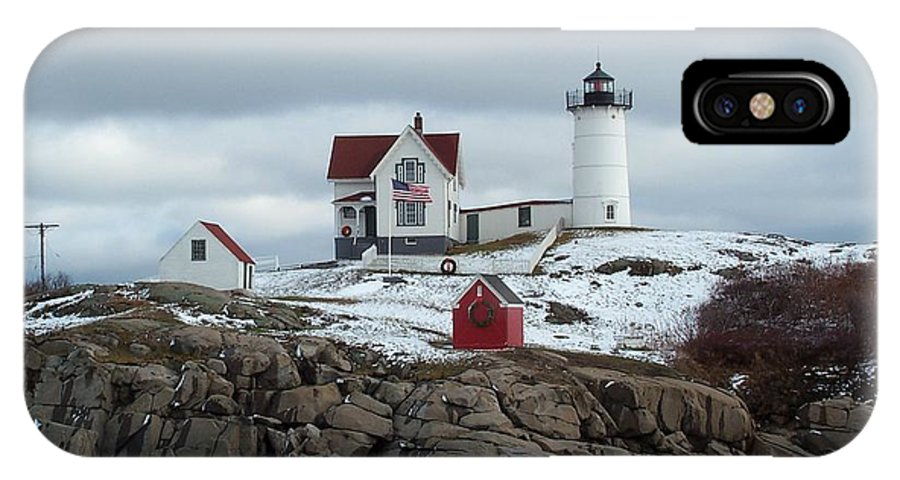 cape Neddick Maine IPhone X Case featuring the photograph Nubble Light In December by Barbara McDevitt