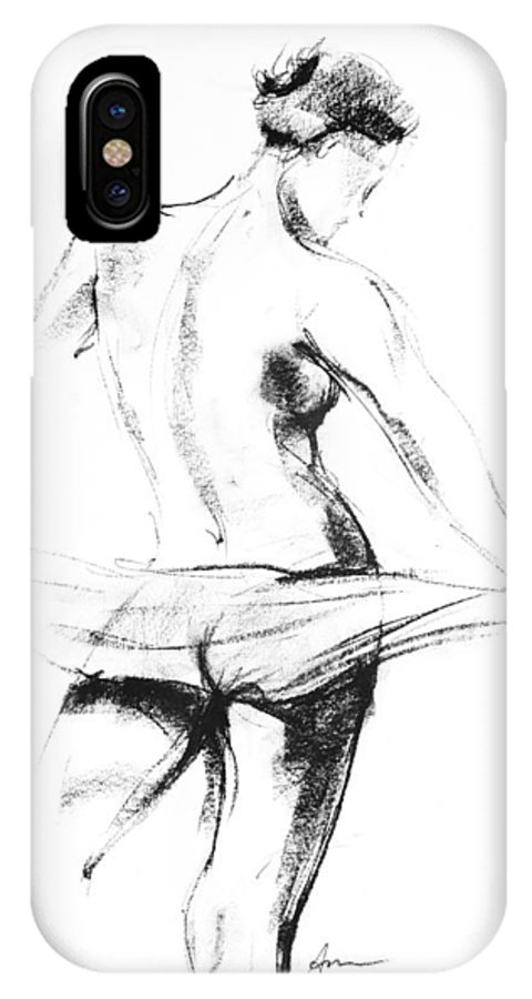 Nude IPhone X Case featuring the drawing Nude 007 by Ani Gallery