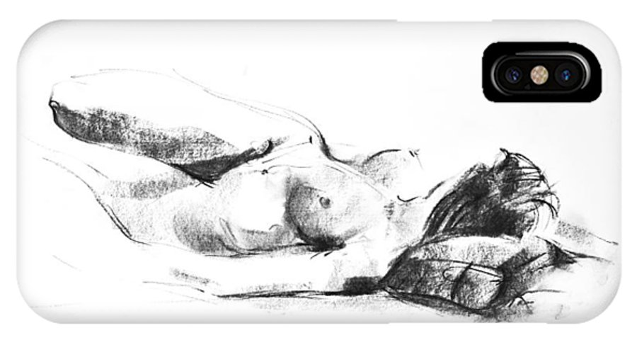 Nude IPhone X Case featuring the drawing Nude 009 by Ani Gallery