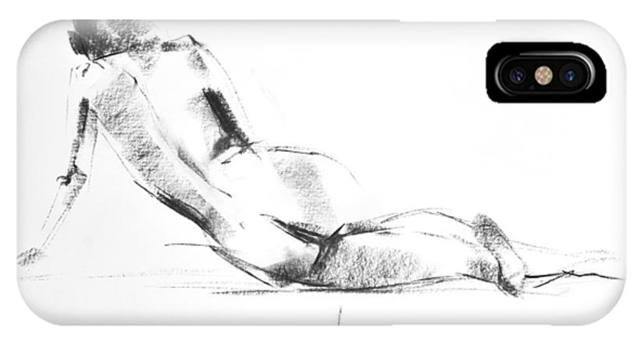Nude IPhone X Case featuring the drawing Nude 010 by Ani Gallery