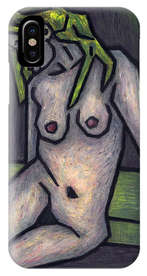 Female Nude IPhone X Case featuring the painting Nude 1 - 2010 Series by Kamil Swiatek