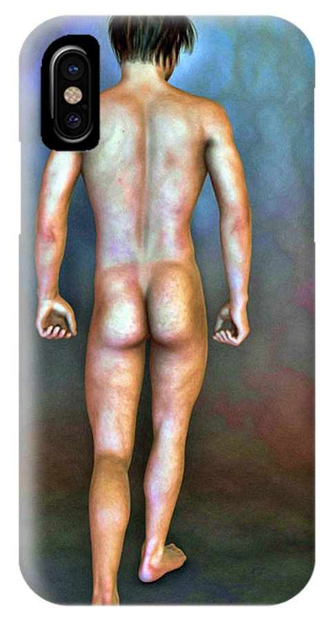 Male IPhone X Case featuring the painting Nude Male With Blemishes by Tyler Robbins