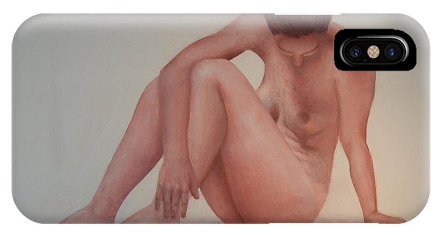 Nude IPhone X Case featuring the painting Nude Model Study by Jos Van de Venne