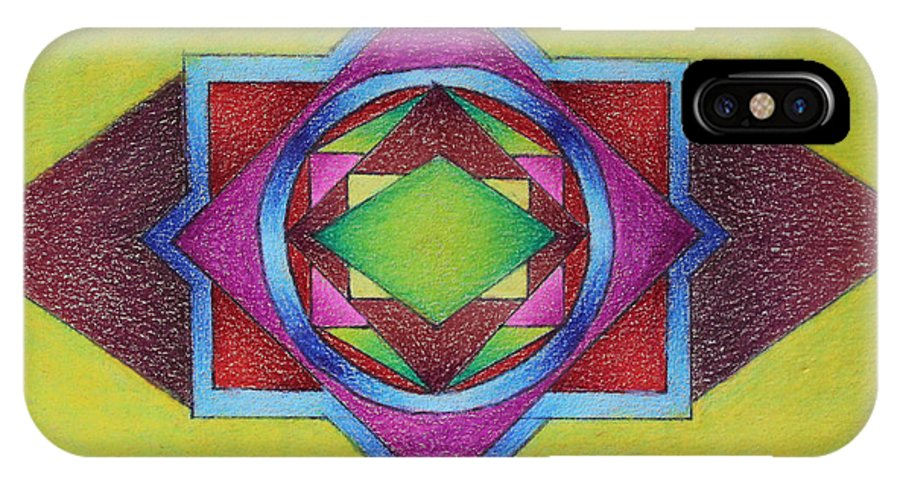 Colored Pencil IPhone X Case featuring the drawing Number 11 by Karen Tagstrom