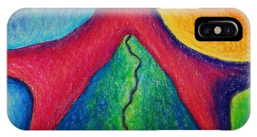 Colored Pencil IPhone X Case featuring the drawing Number 17 by Nancy Mueller