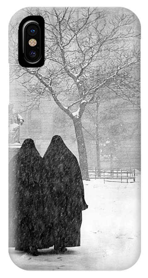 Christmas IPhone X Case featuring the photograph Nuns In Snow New York City 1946 by Melissa A Benson