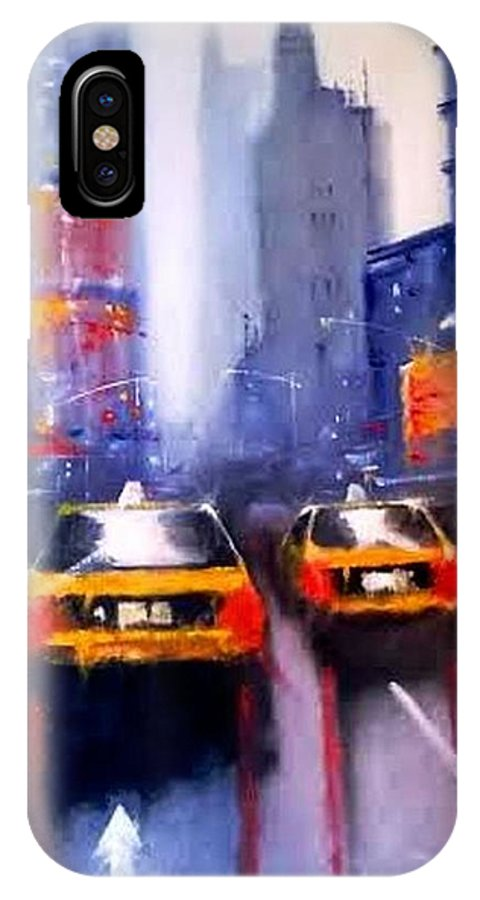 Oil On Canvas Depicting Cab Life In New York IPhone X / XS Case featuring the painting Ny Cabs 1 by Tony Gittins